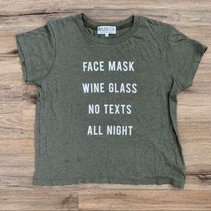 Wildfox Face Mask Wine Glass Graphic Tee Size L